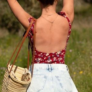 Boho floral print open back tie shoulder bodysuit